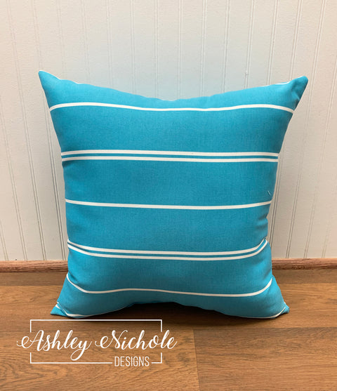 "18"" Outdoor Pillow - Turquoise/White Thin Stripe"