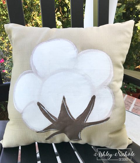 "18"" Custom-Cotton Boll Pillow"