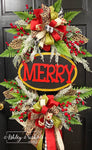 MERRY Christmas-LEOPARD Fun Style-Large Oversized Oval Wreath