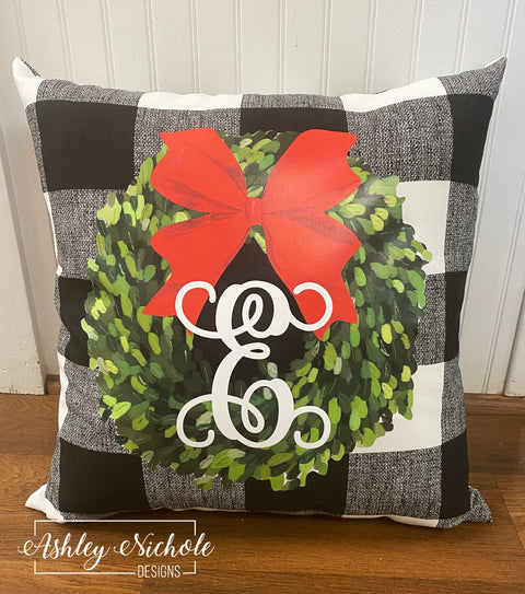 "18""  Custom - Christmas Boxwood Wreath Buffalo Check Pillow"