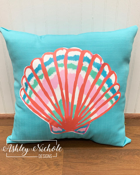 "18"" Custom-Seashell - Colorful Vinyl Design on Turquoise Outdoor Fabric"