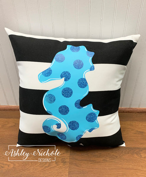 "18"" Custom-Seahorse Pillow on Stripe Outdoor Fabric"