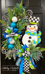 Snowman - Checkered BOY Version LARGE Wreath