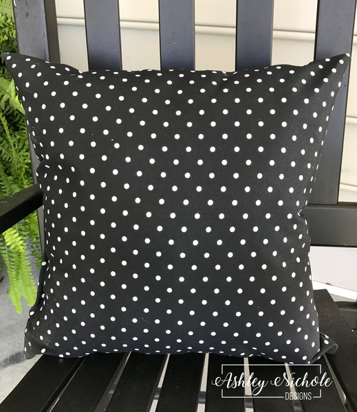 "18"" Outdoor Pillow-Black with mini white dots"