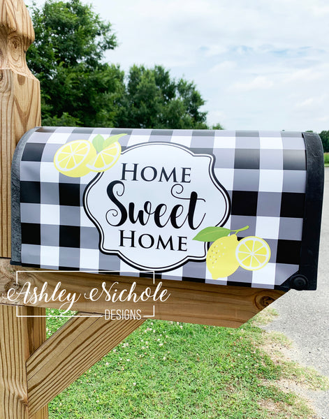 Home Sweet Home Lemon Slice and Buffalo Check Mailbox Cover