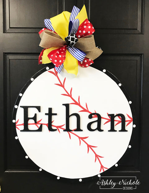 Baseball with Monogram Name Door Hanger