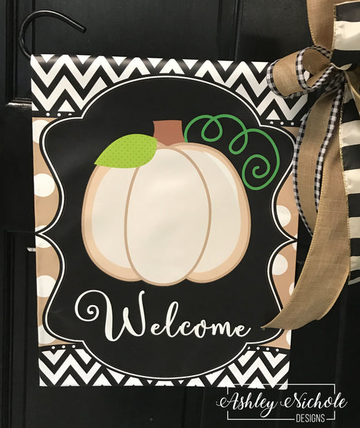 Initial Neutral Pumpkin - TAN with White Dots Vinyl Garden Flag
