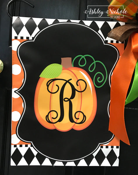 Initial Pumpkin - VINE Font - Orange with White Dots Vinyl Garden Flag