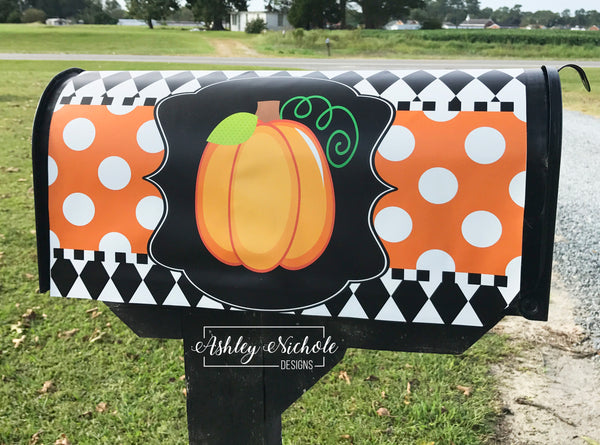 Initial Pumpkin - Orange with White Dots Mailbox Cover