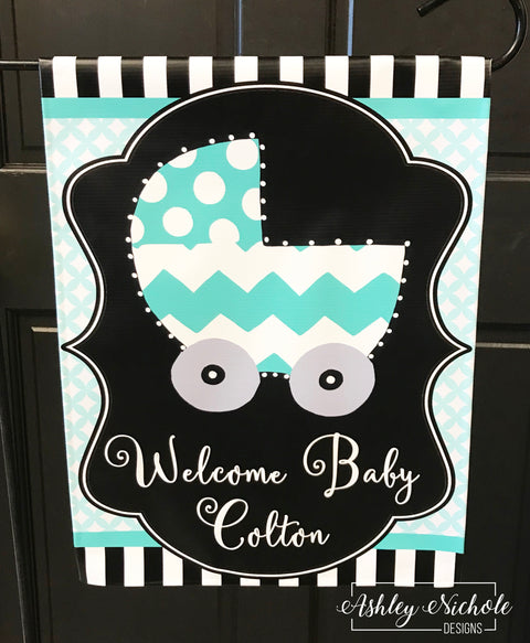 Baby Carriage Welcome-Boy-Girl Garden Vinyl Flag