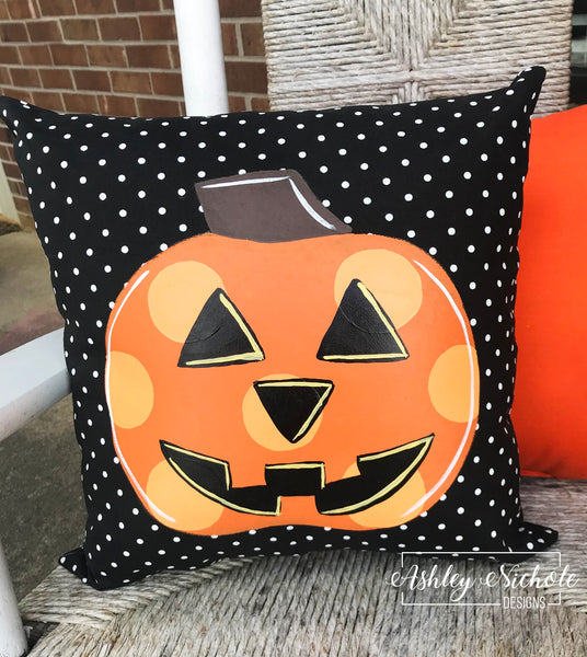 "18"" Custom-Jack-O-Lantern Black and White Dot Pillow"