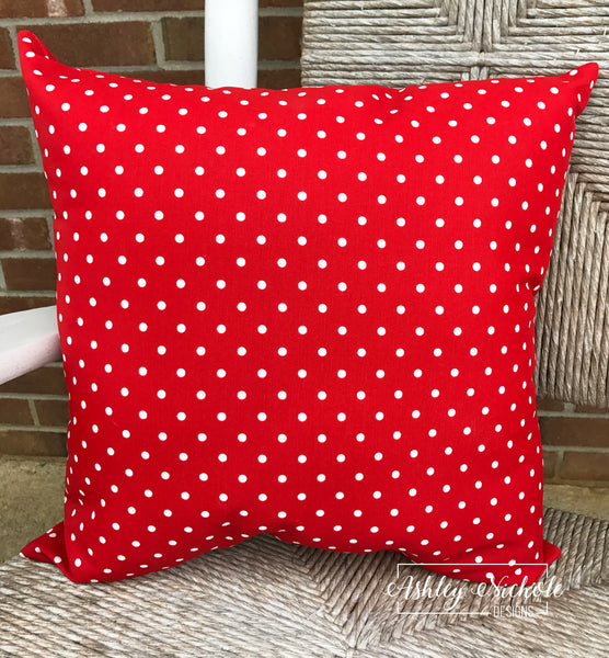"18"" Outdoor Pillow-Red/White Dot"