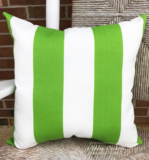 "18"" Outdoor Pillow-Cabana Stripe Green & White"