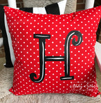 "18"" Custom - Initial Pillow Red/White Dot"