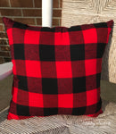 "18"" Outdoor Pillow-Black & RED Buffalo Check"