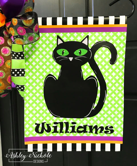 Black Cat - Last Name Garden Vinyl Flag