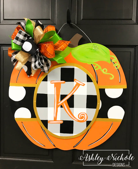 Buffalo Check (Black) and Dot - Orange Pumpkin Door Hanger
