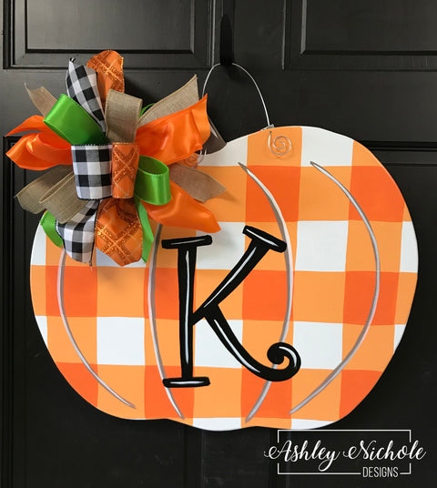 Buffalo Check ORANGE Pumpkin Door Hanger