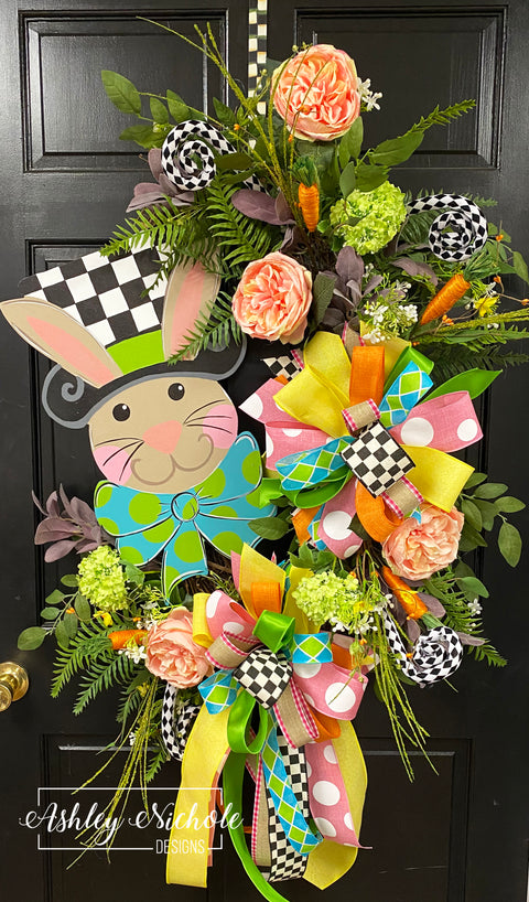 Bunny - Checkered Top Hat - Wreath