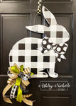Neutral Buffalo Check Bunny  Door Hanger