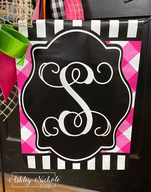 Pink Buffalo Check and Black and White Stripe Initial Garden Vinyl Flag