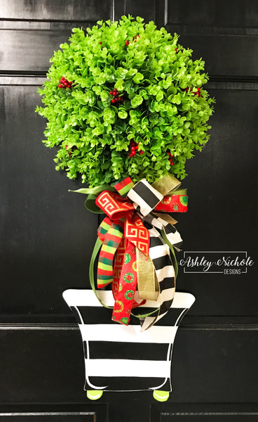 Christmas Topiary - Single Ball  Striped - Door Hanger