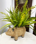 "Resin ""Wicker"" Pig Planter with Greenery"