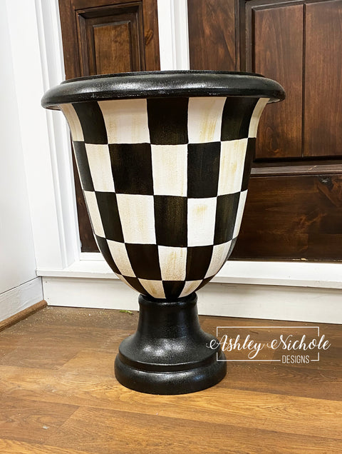 "22"" Pedestal Urn Garden Planter - Fiber Resin - Checkered with Gold Overlay"