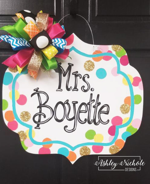 Confetti Name Plaque Door Hanger