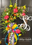 "18"" Spring Mixed Floral Initial Wreath"