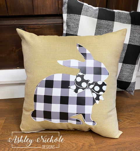 "18"" Custom-Neutral Buffalo Check Bunny Pillow"
