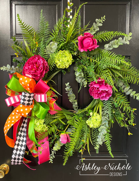 Hot Pink Peony & Fern Wreath