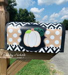 Initial Neutral Pumpkin - TAN with White Dots Mailbox Cover
