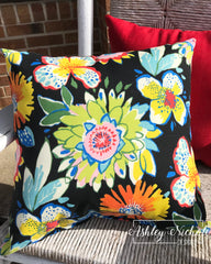 "18"" Outdoor Pillow-La Isla Jet Floral"
