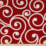 "18"" Outdoor Pillow-Red and White Swirl"