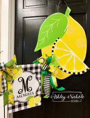Lemon Slice and Buffalo Check Black Initial Garden Vinyl Flag