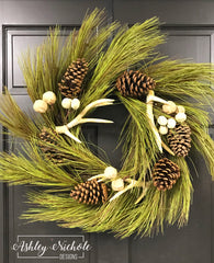 "28"" Long Needle Pine and Antler Wreath"