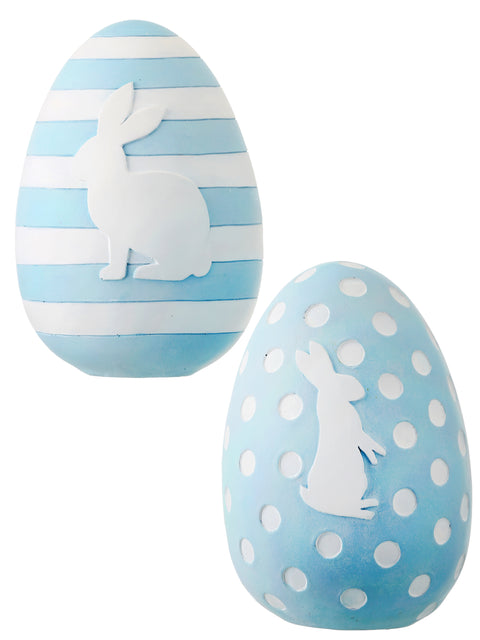 Resin Stripe & Dot Aqua Blue Bunny Eggs - SET of 2