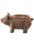 "Resin ""Wicker"" Pig Planter"