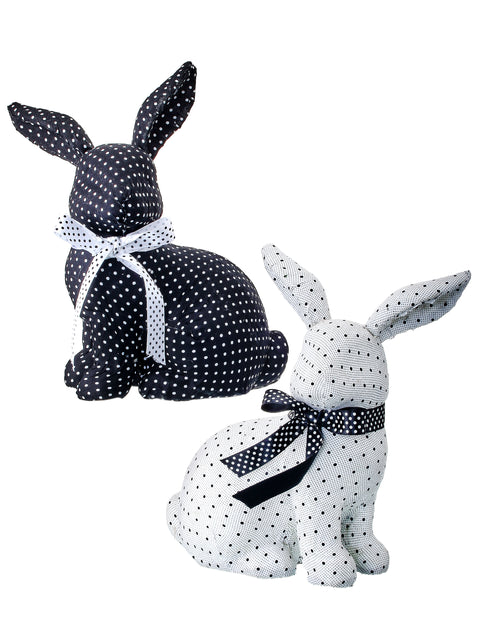 Fabric Polka Dot Bunny with Bow 10""