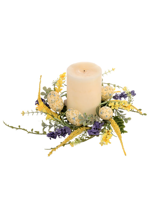 "Deco Egg Spring Floral Candle Ring 12"" - 4"" Diameter"