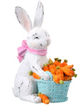Resin Sitting Bunny with Basket of Carrots