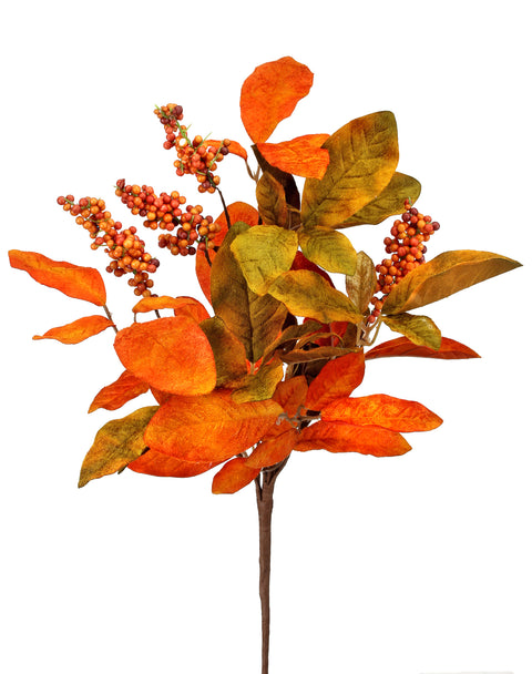 Pick - Velvet Magnolia Leaf with Berries- 22""