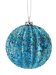 "Ornament Ball - 4"" Glitter Ridged ~ Blue"