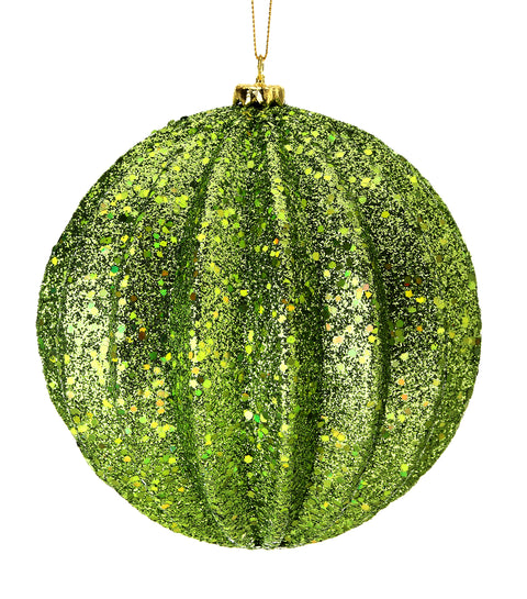 Ornament - Glitter Ridged Ball Ornament