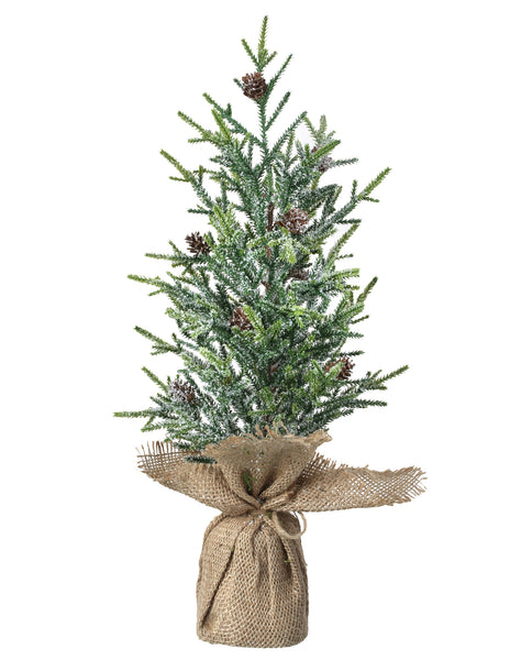"Days of Decor Deals!! 19"" Frosted Mini Fir with Cones Tree in Burlap"