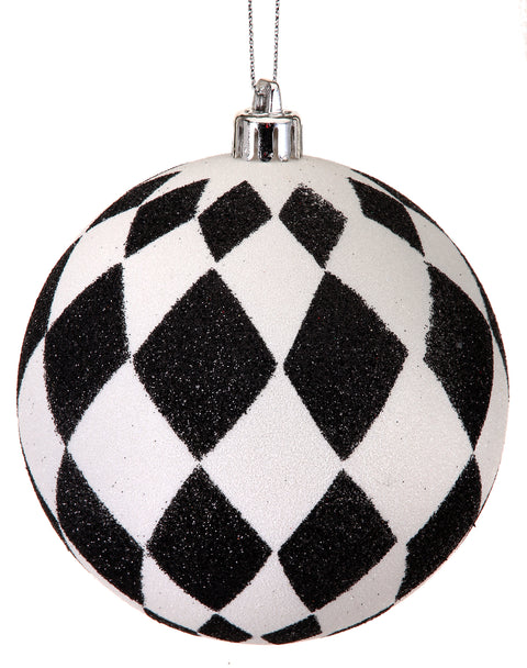 Ornament Ball - Black and White Diamond