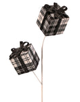 Pick - Black and White Plaid Package with Bow 24""