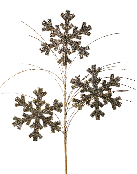 "Pick - Glitter Snowflake Spray 27"" ~ Champagne/Gold"