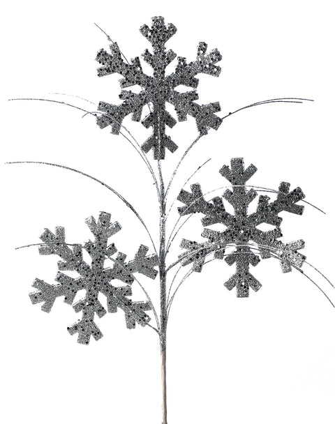 "Pick - Glitter Snowflake Spray 27"" ~ Silver"